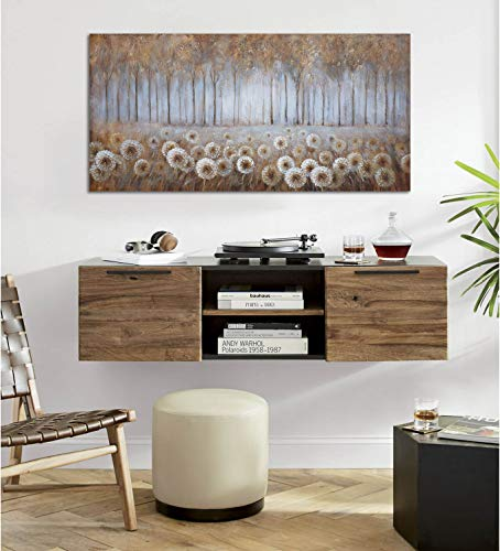 Large Living Room Wall Decor Brown Dandelion Canvas Wall Art Abstract Tree Forest Theme Picture Wall Decoration Modern Framed Prints Artwork Ready To Hang For Bedroom Home Wall Decor Size 24x48 Inch 0 0