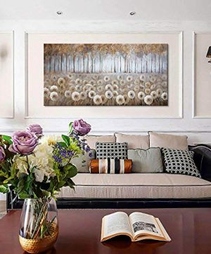 Large Living Room Wall Decor Brown Dandelion Canvas Wall Art Abstract Tree Forest Theme Picture Wall Decoration Modern Framed Prints Artwork Ready To Hang For Bedroom Home Wall Decor Size 24x48 Inch 0 1 300x360