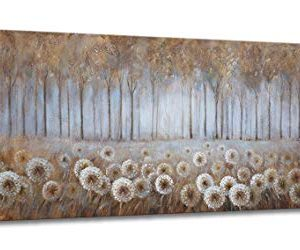 Large Living Room Wall Decor Brown Dandelion Canvas Wall Art Abstract Tree Forest Theme Picture Wall Decoration Modern Framed Prints Artwork Ready To Hang For Bedroom Home Wall Decor Size 24x48 Inch 0 300x250