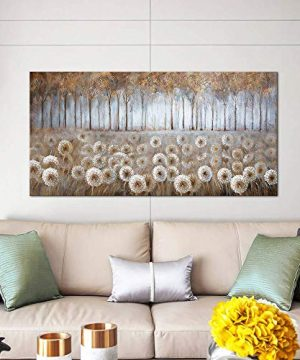 Large Living Room Wall Decor Brown Dandelion Canvas Wall Art Abstract Tree Forest Theme Picture Wall Decoration Modern Framed Prints Artwork Ready To Hang For Bedroom Home Wall Decor Size 24x48 Inch 0 5 300x360