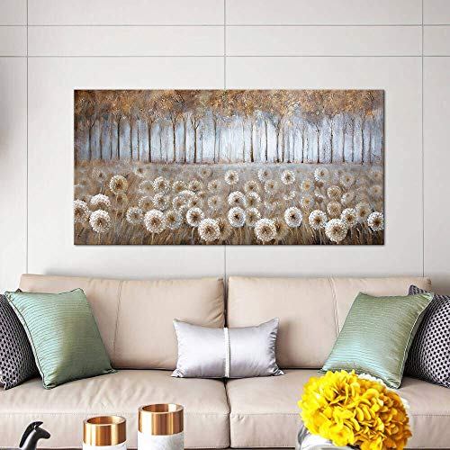Large Living Room Wall Decor Brown Dandelion Canvas Wall Art Abstract Tree Forest Theme Picture Wall Decoration Modern Framed Prints Artwork Ready To Hang For Bedroom Home Wall Decor Size 24x48 Inch 0 5