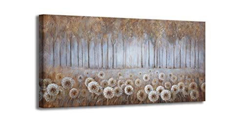 Large Living Room Wall Decor Brown Dandelion Canvas Wall Art Abstract Tree Forest Theme Picture Wall Decoration Modern Framed Prints Artwork Ready To Hang For Bedroom Home Wall Decor Size 24x48 Inch 0