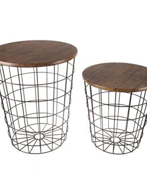 Lavish Home 80 ENDTBL 2 Set Of 2 Nesting End Storage Convertible Round Metal Basket Wood Veneer Top Accent Side Tables Dark Brown 0 300x360
