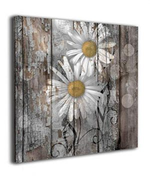 Lureu Rustic Farmhouse Daisy Flowers Country Yellow Brown White 16x16 Canvas Wall Art PrintsFramed Picture Photo Painting Giclee ArtworkModern Gallery Home Decor Ready To Hang 0 300x360