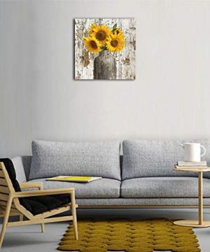 Lureu Rustic Yellow Sunflower In Vase Farmhouse Cottage Countryside 16x16 Canvas Wall Art PrintsFramed Picture Photo Painting Giclee ArtworkModern Gallery Home Decor Ready To Hang 0 0 300x360