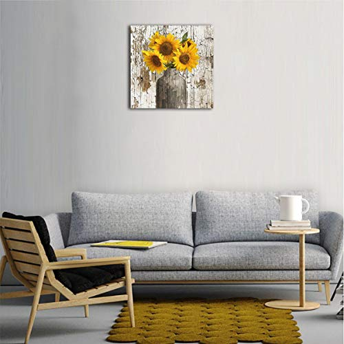 Lureu Rustic Yellow Sunflower In Vase Farmhouse Cottage Countryside 16x16 Canvas Wall Art PrintsFramed Picture Photo Painting Giclee ArtworkModern Gallery Home Decor Ready To Hang 0 0