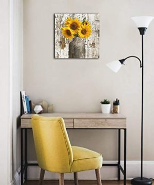Lureu Rustic Yellow Sunflower In Vase Farmhouse Cottage Countryside 16x16 Canvas Wall Art PrintsFramed Picture Photo Painting Giclee ArtworkModern Gallery Home Decor Ready To Hang 0 1 300x360
