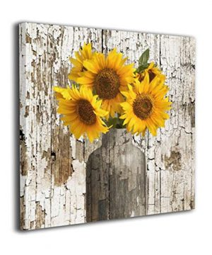 Lureu Rustic Yellow Sunflower In Vase Farmhouse Cottage Countryside 16x16 Canvas Wall Art PrintsFramed Picture Photo Painting Giclee ArtworkModern Gallery Home Decor Ready To Hang 0 300x360