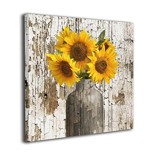 Lureu Rustic Yellow Sunflower In Vase Farmhouse Cottage Countryside 16x16 Canvas Wall Art PrintsFramed Picture Photo Painting Giclee ArtworkModern Gallery Home Decor Ready To Hang 0