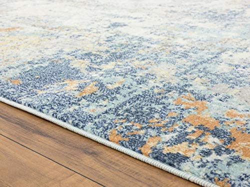 Luxe Weavers Abstract Blue Multi Colored 8x10 Area Rug 0 1