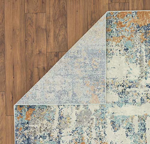 Luxe Weavers Abstract Blue Multi Colored 8x10 Area Rug 0 2