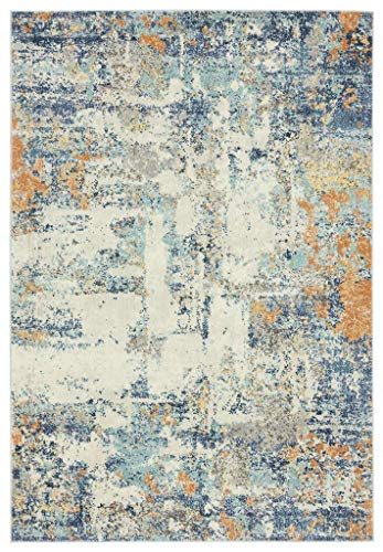 Luxe Weavers Abstract Blue Multi Colored 8x10 Area Rug 0