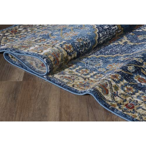 Luxe Weavers Howell Collection Oriental 8x10 Blue Area Rug 0 5