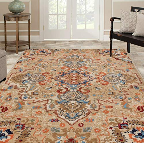 Luxe Weavers Howell Collection Oriental 8x10 Cream Area Rug 0 0
