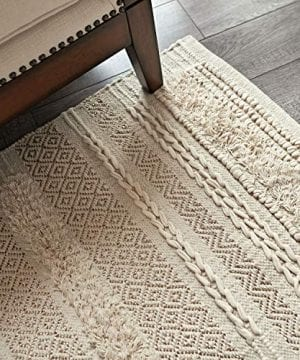 MOTINI Tufted Cotton Area Rug 3 X 5 Hand Woven Knotted Bohemian Gold Accent Rug Beige Cream Flatweave Diamond Geometric Area Rug For Living Room Bedroom 0 300x360