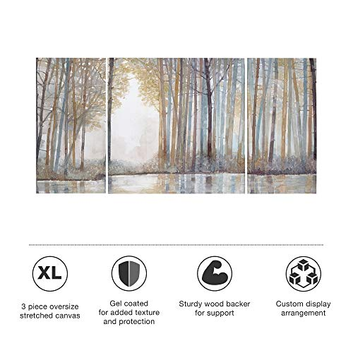 Madison Park MP95C 0041 Forest Reflections Wall Art Canvas Wall Art Rustic Home Dcor Autumn Color Bamboo Stretched Wall Art For Living Room 3 Piece Set Painting Canvas 0 3