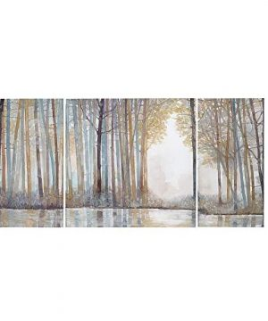 Madison Park MP95C 0041 Forest Reflections Wall Art Canvas Wall Art Rustic Home Dcor Autumn Color Bamboo Stretched Wall Art For Living Room 3 Piece Set Painting Canvas 0 300x360