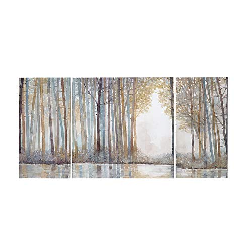 Madison Park MP95C 0041 Forest Reflections Wall Art Canvas Wall Art Rustic Home Dcor Autumn Color Bamboo Stretched Wall Art For Living Room 3 Piece Set Painting Canvas 0