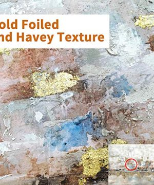 Modern Abstract Colorful Canvas Wall Art Rustic Hand Painted Texturing With Gold Foils Embellishment Painting Wall Picture For Living Room 45 X30 X 1 Panel 0 0 300x360