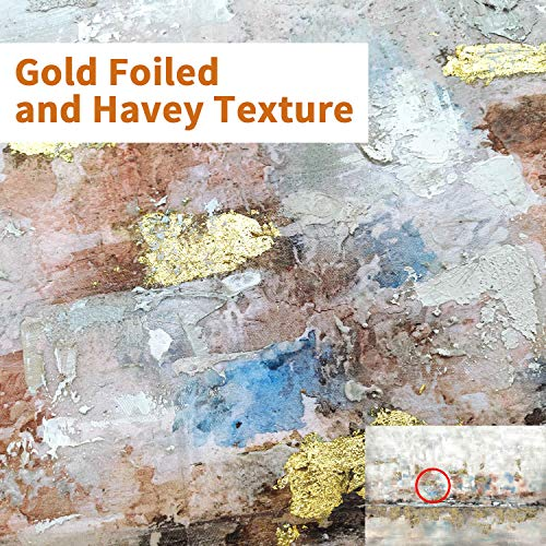Modern Abstract Colorful Canvas Wall Art Rustic Hand Painted Texturing With Gold Foils Embellishment Painting Wall Picture For Living Room 45 X30 X 1 Panel 0 0