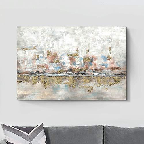 Modern Abstract Colorful Canvas Wall Art Rustic Hand Painted Texturing With Gold Foils Embellishment Painting Wall Picture For Living Room 45 X30 X 1 Panel 0 1