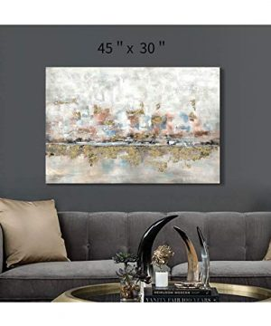 Modern Abstract Colorful Canvas Wall Art Rustic Hand Painted Texturing With Gold Foils Embellishment Painting Wall Picture For Living Room 45 X30 X 1 Panel 0 2 300x360