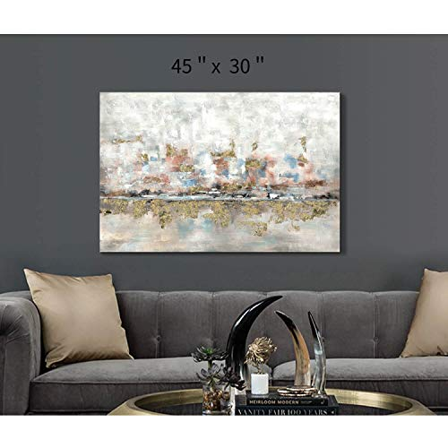Modern Abstract Colorful Canvas Wall Art Rustic Hand Painted Texturing With Gold Foils Embellishment Painting Wall Picture For Living Room 45 X30 X 1 Panel 0 2