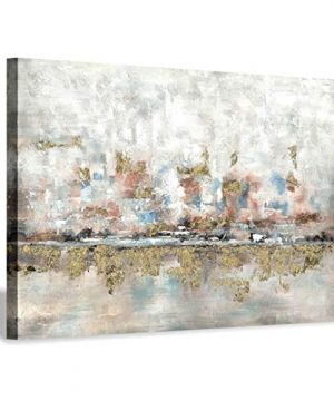 Modern Abstract Colorful Canvas Wall Art Rustic Hand Painted Texturing With Gold Foils Embellishment Painting Wall Picture For Living Room 45 X30 X 1 Panel 0 300x360