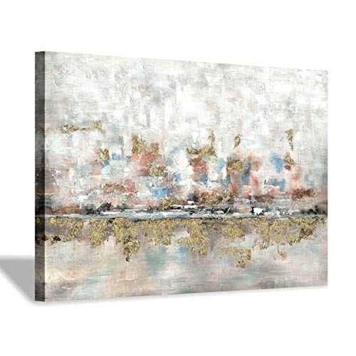 Modern Abstract Colorful Canvas Wall Art Rustic Hand Painted Texturing With Gold Foils Embellishment Painting Wall Picture For Living Room 45 X30 X 1 Panel 0