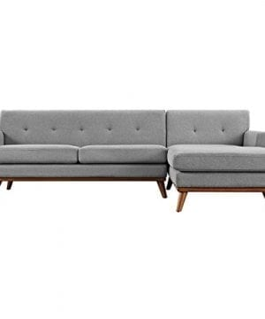 Modway Engage Mid Century Modern Upholstered Fabric Right Facing Sectional Sofa In Expectation Gray 0 0 300x360