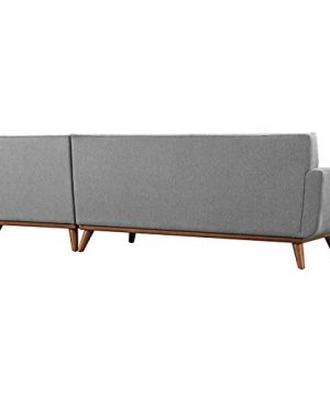 Modway Engage Mid Century Modern Upholstered Fabric Right Facing Sectional Sofa In Expectation Gray 0 1 300x360