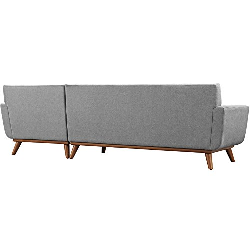 Modway Engage Mid Century Modern Upholstered Fabric Right Facing Sectional Sofa In Expectation Gray 0 1