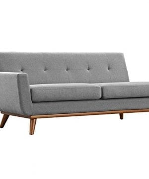 Modway Engage Mid Century Modern Upholstered Fabric Right Facing Sectional Sofa In Expectation Gray 0 2 300x360