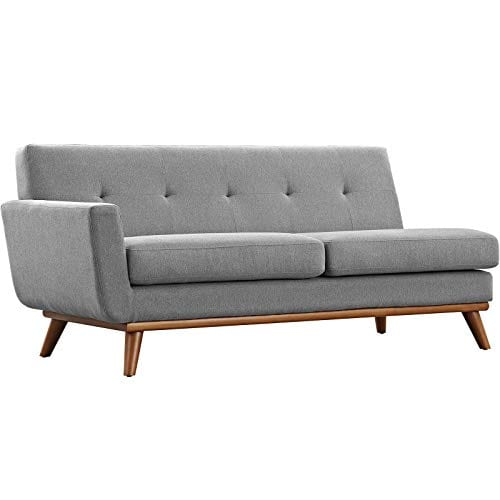 Modway Engage Mid Century Modern Upholstered Fabric Right Facing Sectional Sofa In Expectation Gray 0 2