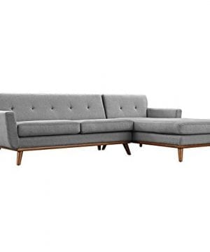 Modway Engage Mid Century Modern Upholstered Fabric Right Facing Sectional Sofa In Expectation Gray 0 4 300x360