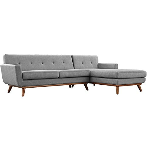 Modway Engage Mid Century Modern Upholstered Fabric Right Facing Sectional Sofa In Expectation Gray 0 4