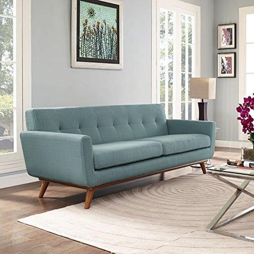 Modway Engage Mid Century Modern Upholstered Fabric Sofa In Laguna 0 2