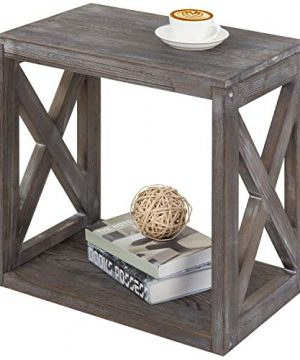 MyGift Rustic Wood Rectangular End Table With Vintage Grey Finish 0 300x360