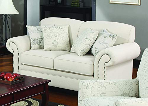 Norah Loveseat With Antique Inspired Detail Oatmeal 0 0