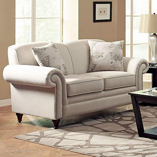 Norah Loveseat With Antique Inspired Detail Oatmeal 0 1