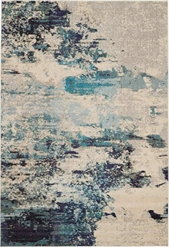 Nourison Celestial 6x9 Area Rug Ivory Teal Blue 0 1