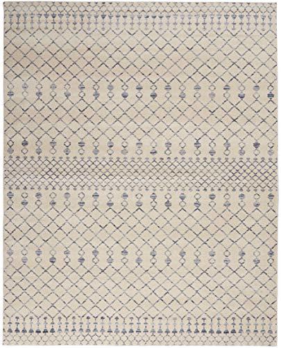 Nourison Royal Moroccan Distressed Bohemian Beige Blue 8 X 10 Area Rug 8x10 8X 10 BGEBL 0 1