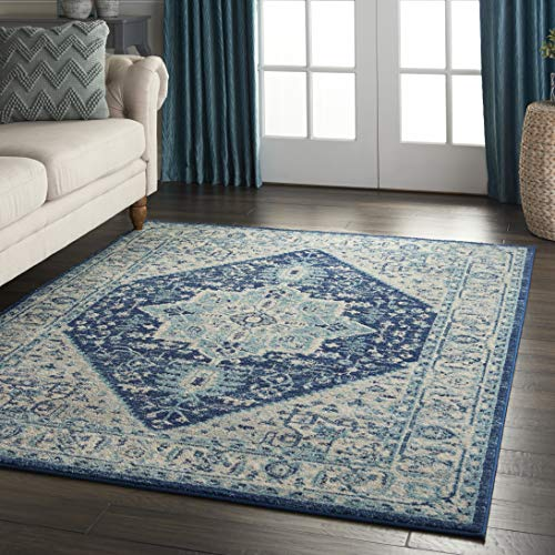 Nourison TRA06 Tranquil Persian Vintage IvoryNavy Area Rug 6 X 9 0 4