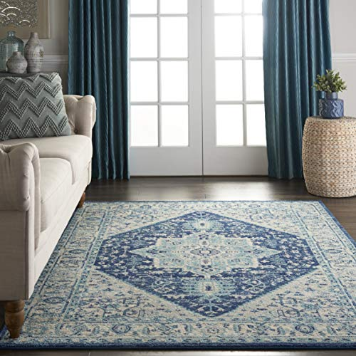 Nourison TRA06 Tranquil Persian Vintage IvoryNavy Area Rug 6 X 9 0