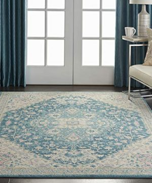 Nourison TRA07 Tranquil Persian Vintage IvoryTurquoise Area Rug 6 X 9 0 300x360