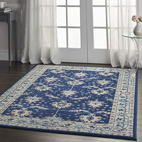 Nourison TRA10 Tranquil Oriental Traditional NavyIvory Area Rug 6 X 9 0 4