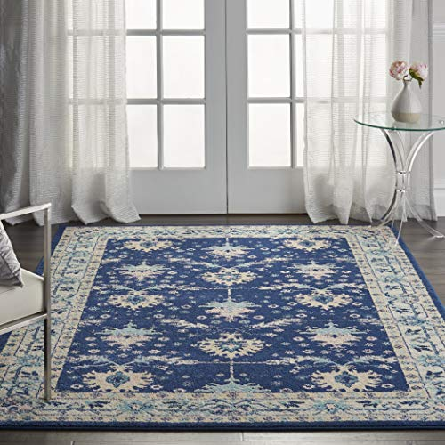 Nourison TRA10 Tranquil Oriental Traditional NavyIvory Area Rug 6 X 9 0