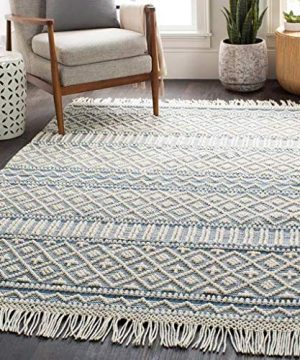 Nunnelly Moroccan Bohemian Farmhouse 6 X 9 Rectangle BohemianGlobal 60 Wool40 Cotton DenimWhite Area Rug 0 300x360