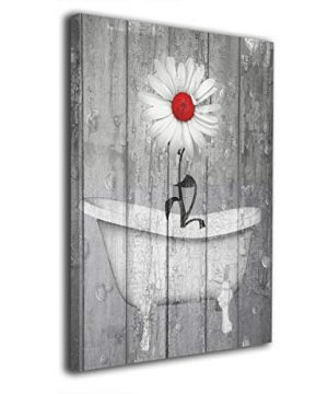 Okoart Rustic Bath Home Decor Wall Art Daisy Flower Bubbles Red Gray Farmhouse Bath Canvas Wall Art 16x20inch Artwork Art Wood Inside Framed Hanging Wall Decoration 0 300x360