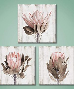 Pink Floral Picture Wall Art Protea Flowers Artwork Print On Wooden Textured Canvas Art For Bathroom 12 X 12 X 3 Panels 0 300x360